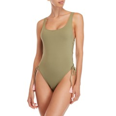 vince camuto Lace-Up One-Piece Swimsuit Avocado 2540-1541
