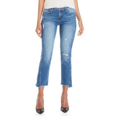 flying monkey Distressed Cropped Flare Jeans Light Wash 2472-0815