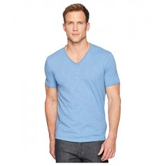 MUJLDCS John Varvatos Star U.S.A. Short Sleeve Slub V-Neck with Cut Raw Edge K3595U1B Petrol Blue 9081336